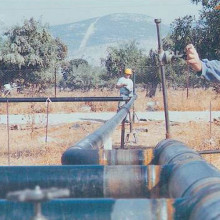 Natural gas pipeline in Elefsina