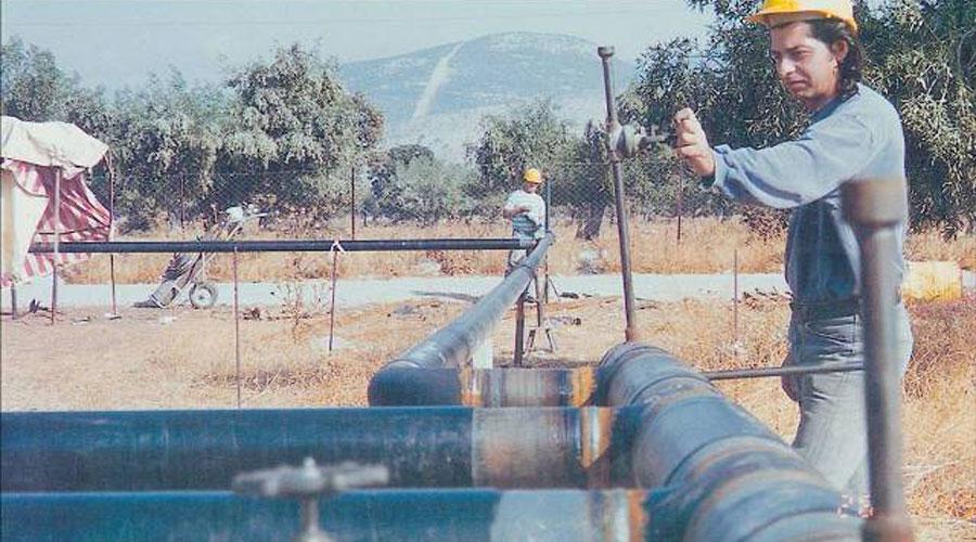 Natural gas pipeline in Elefsina